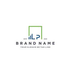 Letter lp square logo finance design vector