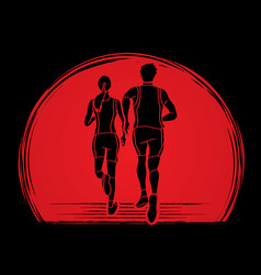 Man and woman running together people run vector