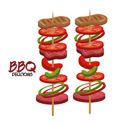 Meat stick delicious bbq food vector