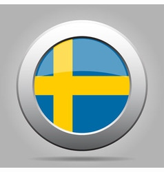 metal button with flag of Sweden vector image