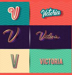 Name victoria in various retro graphic design vector