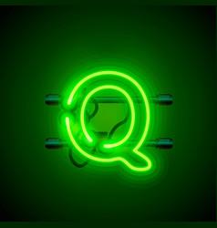 neon font letter q art design singboard vector image