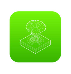 nuclear explosion icon green vector image