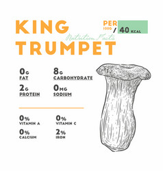 nutrition facts of mushroom type king trumpet vector image