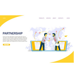partnership website landing page design vector image