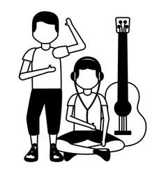 people listening music vector image