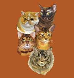 Postcard with cats-2 vector