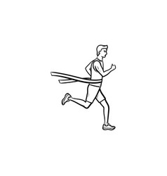 race runner and finishing tape hand drawn outline vector image