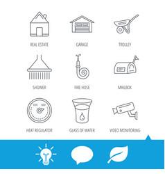 real estate garage and heat regulator icons vector image