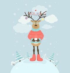 reindeer cartoon style character in warm clothing vector image