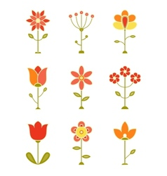 Retro Flower Set vector image
