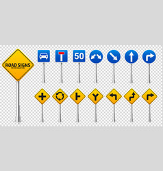 road highway regulatory signs set traffic control vector image