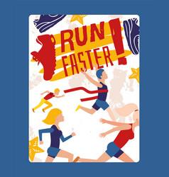 run faster banner sport activities event vector image