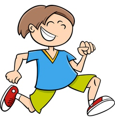 Running boy cartoon vector