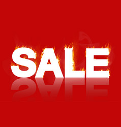 sale - a white inscription on fire vector image