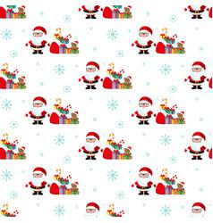 santa and a bag of gifts christmas pattern vector image