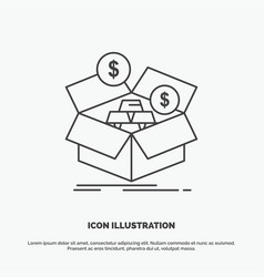 savings box budget money growth icon line gray vector image