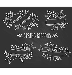 set chalk spring ribbons with leaves vector image