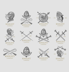 set monochrome knights emblems badges labels vector image