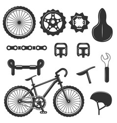 Set of bicycle parts isolated icons black vector