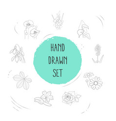 set of botany icons line style symbols with vector image