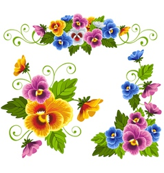 Set of floral patterns with pansy vector
