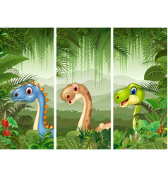 Set of three cartoon dinosaurs vector