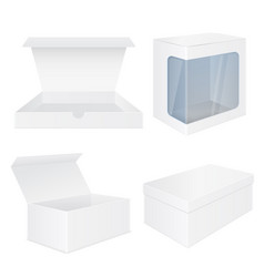 set of white boxes white mockups vector image