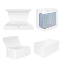 set of white boxes white mockups vector image