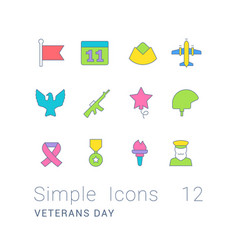 set simple line icons veterans day vector image