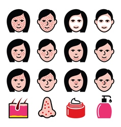 Skin problems - acne spots treatment icons set vector
