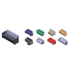 sofa icon set isometric style vector image