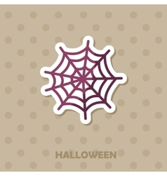 Spider web icon Halloween sticker vector