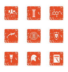 Study of lizard icons set grunge style vector