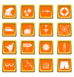 surfing icons set orange vector image