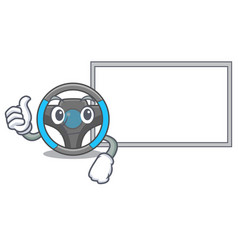 Thumbs up with board steering wheel isolated in vector