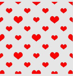 Tile pattern with red hearts on grey background vector