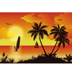 Tropical Sea Landscape with Palms and Surfer vector image