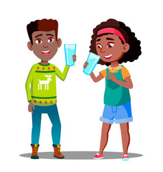 two afro american kids drinking organic milk from vector image