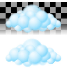 Two light clouds on white and transparent vector