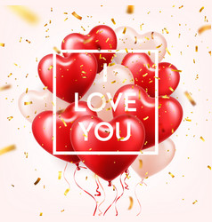 valentine s day abstract background with red 3d vector image