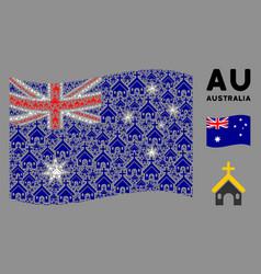 waving australia flag mosaic christian church vector image