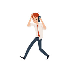 Worried business man talking mobile phone and vector