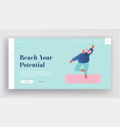 yoga practice website landing page overweight vector image