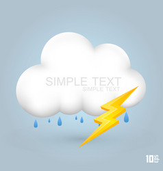 cloud and rain with thunder vector image vector image