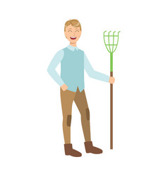 man with rake cartoon adult characters cleaning vector image