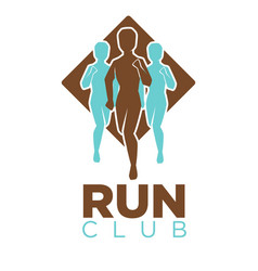 professional run club emblem logo with men colored vector image vector image