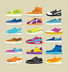 sneaker sport shoes set vector image