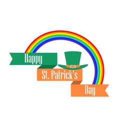 stpatrick s day rainbow and leprechaun hat vector image