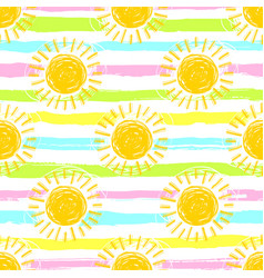 sun pattern seamless spring striped background vector image